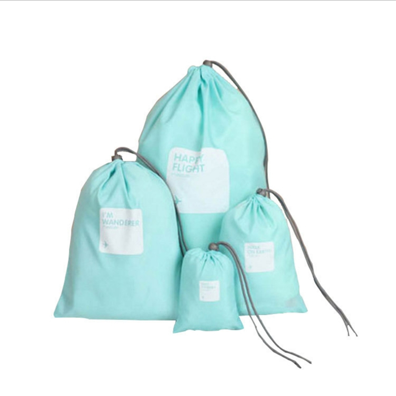 Waterproof Drawstring Bags Four-piece Set Unisex Travel Cosmetics Shoes Storage Package Nylon Folding Drawstring Shrink Pocket