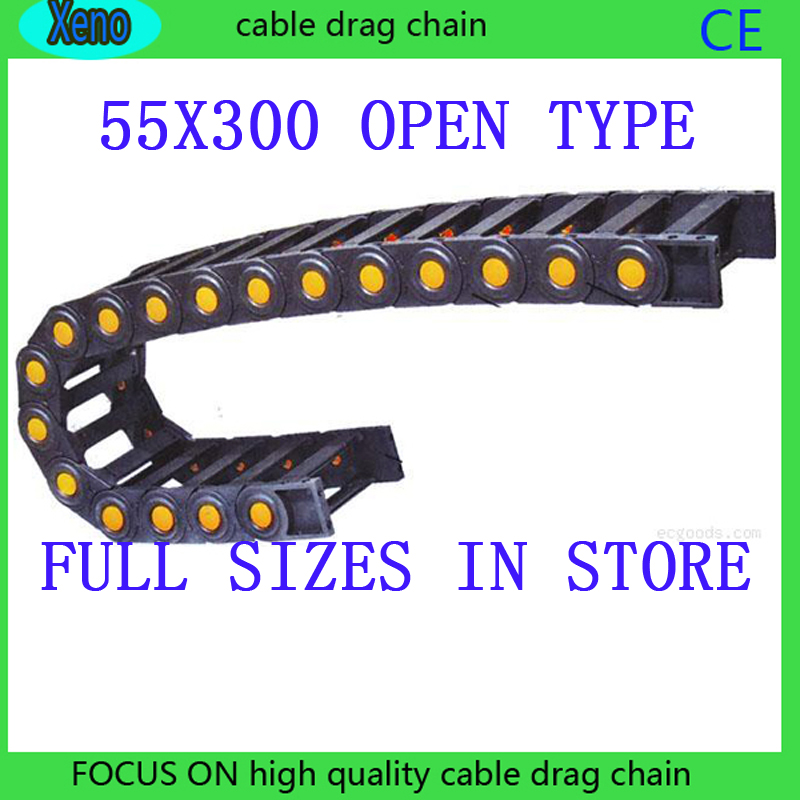 Free Shipping 55x300 10 Meters Bridge Type Plastic Towline Cable Drag Chain For CNC Machine