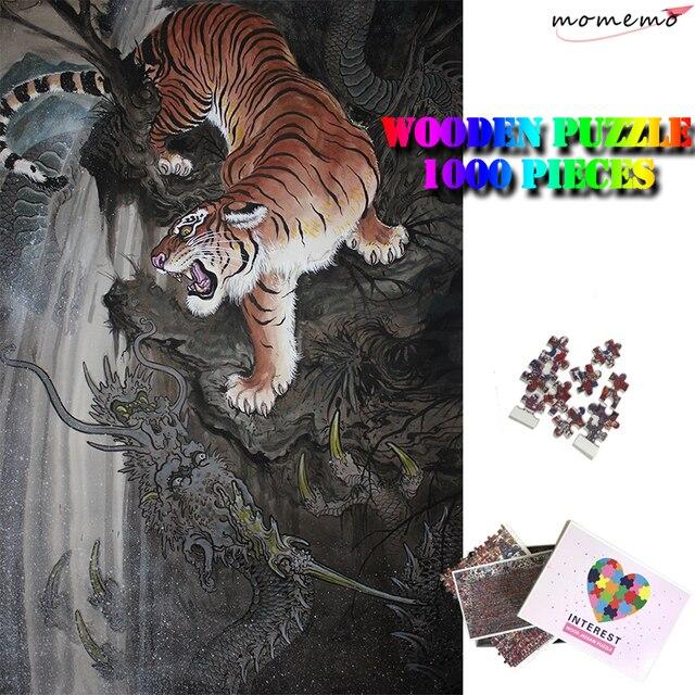 MOMEMO Dragão e Tigre Puzzle para Enfant Enigma De Madeira Cérebro Teaser de Puzzle 1000 Peças Estilo Chinês Adultos Brinquedos Puzzle