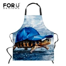 FORUDESIGNS Cool Printing 3d Animal Elephant Turtle Lion Cooking Apron Sleeveless Men Women Kitchen Chef Aprons Work Baking Bib