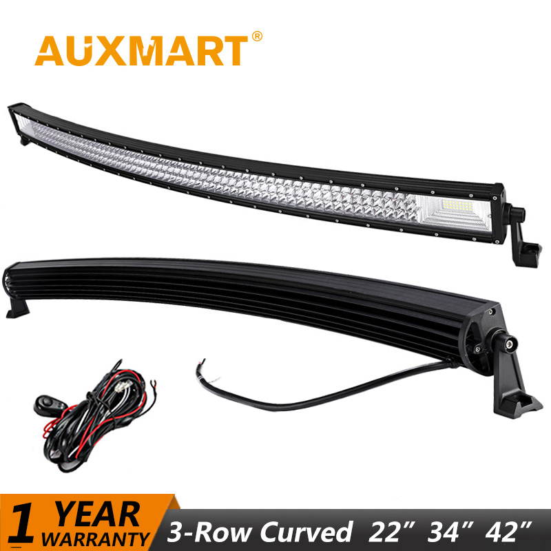 Auxmart LED Light Bar 22~50 inch Curved 324W 486W 702W Combo Beam LED Work Light Bar Offroad Driving Truck SUV ATV 4WD 4x4 12v 288w 50 curved led light bar with rgb halo ring combo led work light offroad led bar truckatv 4x4 4wd 12v ute working foglights