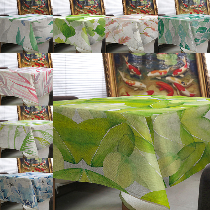 tablecloth tapete toalha de mesa linen Tropical plants fresh green leaves Tablecloth for table Home Protection and decoration