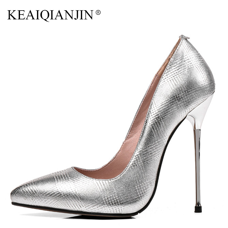 KEAIQIANJIN Woman 13 CM Silvery Pointed Toe Pumps Plus Size 31 - 43 Stiletto Shoes Fashion Spring Autumn Genuine Leather Pumps keaiqianjin woman patent leather pumps plus size 33 43 high shoes spring autumn metal decoration black genuine leather pumps