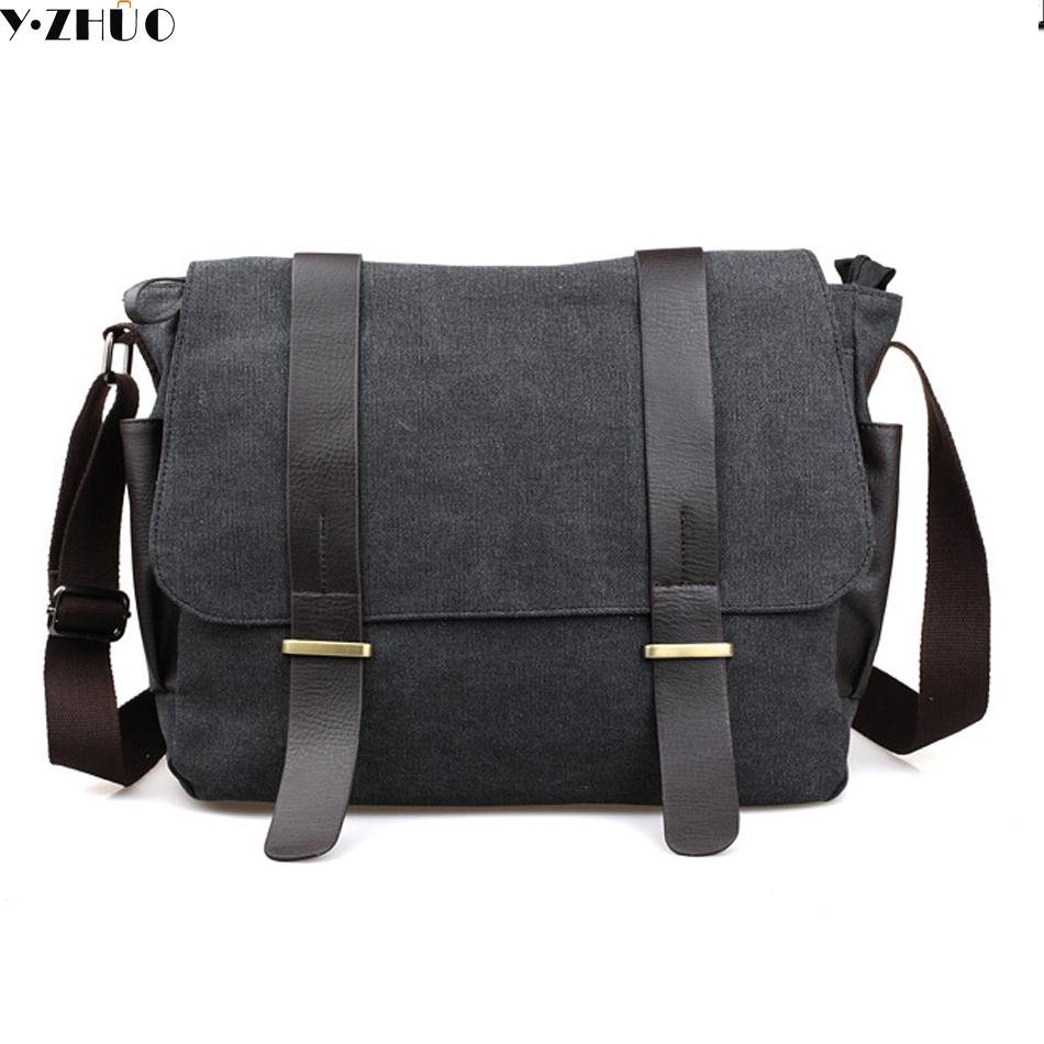 canvas men messenger bags vintage shoulder bag high quality Cover travel bag black large men crossbody Laptop bag black high quality multifunction canvas bag men travel messenger bags men crossbody brand vintage style shoulder bag ybb070