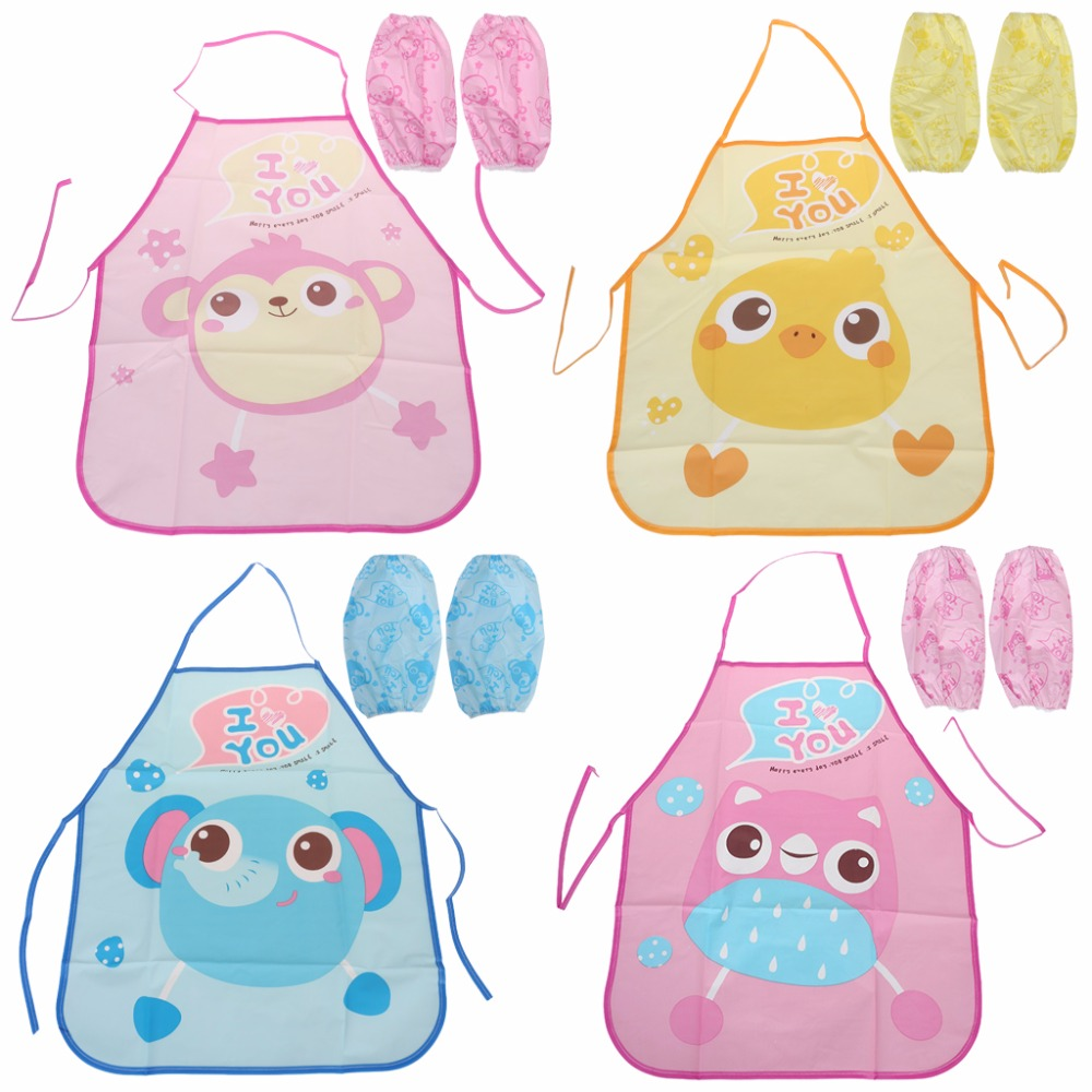 1 <font><b>Set</b></font> Kids Apron Sleeves Children Painting <font><b>Kitchen</b></font> Cooking Waterproof Protection image