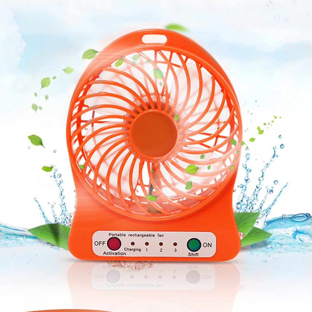 OUTAD Portable Rechargeable LED Fan Air Cooler Mini Operated Desk USB Charging 3 Mode Speed Regulation LED Lighting Function portable 8 pin air fan