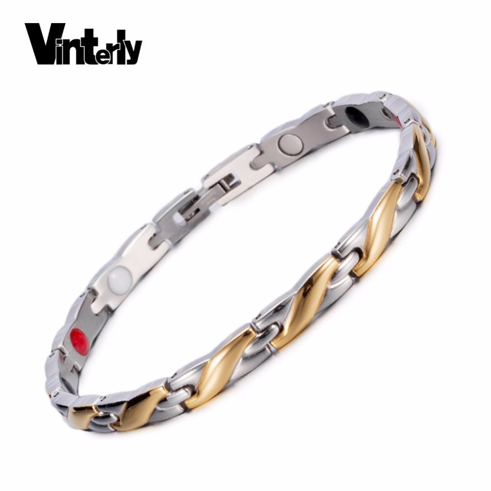 Vinterly Health Magnetic Bracelet for Women Men Gold Twisted Germanium Hand Chain Stainless Steel Charm Bracelets Men JewelryVinterly Health Magnetic Bracelet for Women Men Gold Twisted Germanium Hand Chain Stainless Steel Charm Bracelets Men Jewelry
