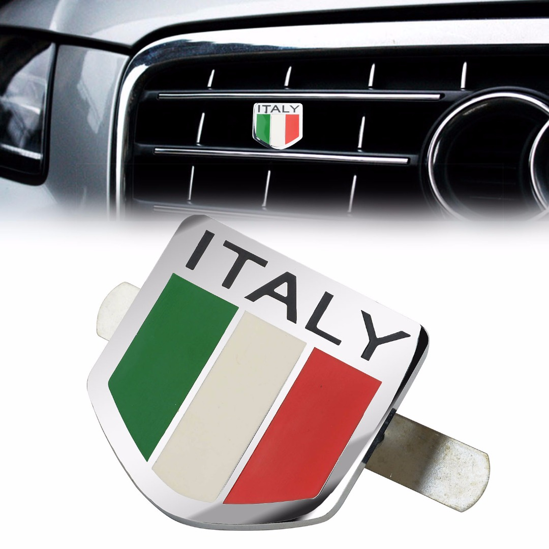 Mayitr high quality auto 3d metal italy italian flag emblem racing sports decals sticker car front grill grille badge stickers
