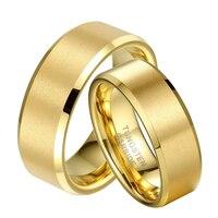 1 Çift Altın Renk Çift Severler için Vaat Tungsten Alyans Set Takı Damat Gelin anillos