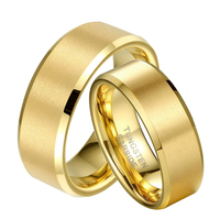 1 Pair Gold Color Tungsten Wedding Ring Set for Couple Lovers Promised Jewelry Bridegroom Bridal anillos