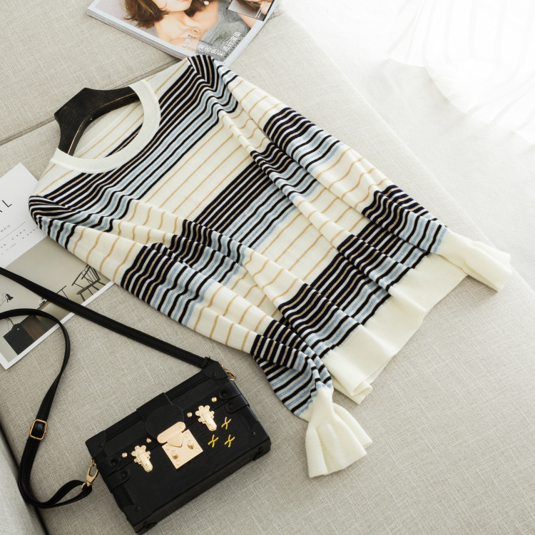 Autumn new women s high end boutique Contrast wool spell gold and silver line striped sweater