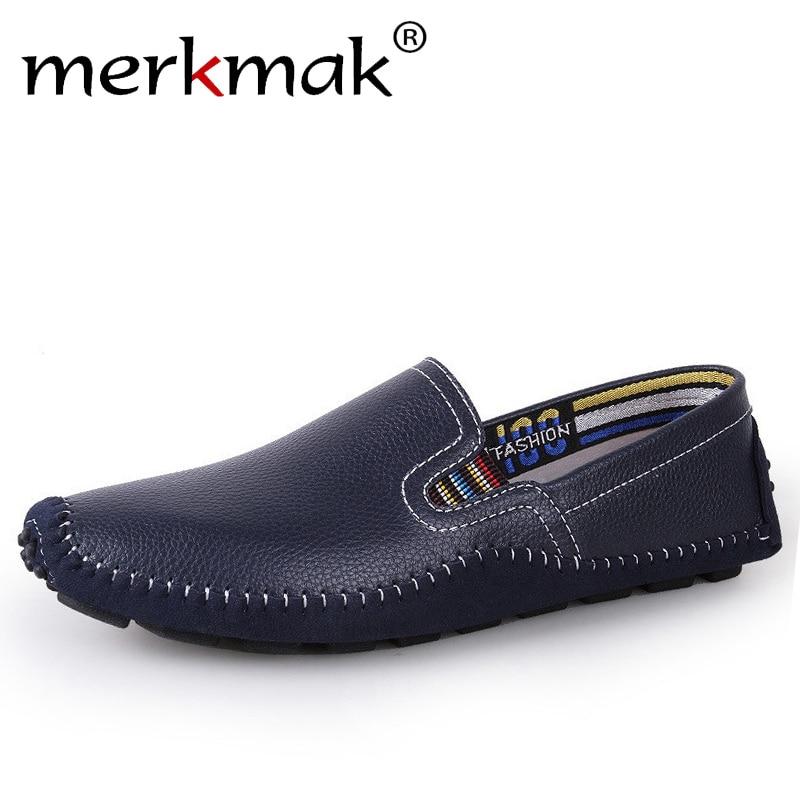 Merkmak Big Size 38~47 Handmade Men Shoes Genuine Leather Men Flats Comfort Driving Shoes Soft Leather Moccasins for Men