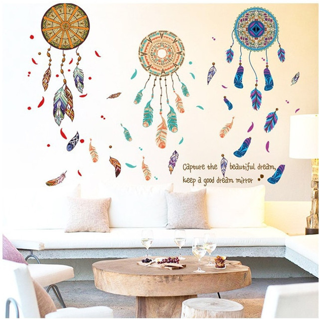 Wind Chimes Wall Stickers For Bed Room Home Decoration Background Decal Pvc Plane Pattern Mural Door Diy Wallpaper Promotion