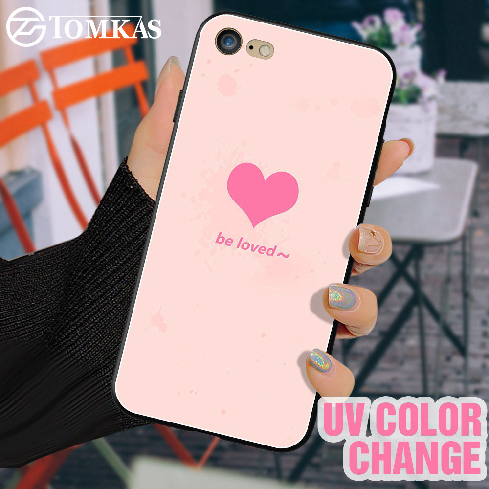 TOMKAS UV Light Effect Cases For iPhone 7 Case Matte Patterned Color Change Case For iPhone 6 6s 8 Plus X Cover Funda