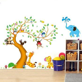 Dibujos Animados Animal Arbol Papel Pintado 3d Adhesivos De Pared - Dibujos-pared-infantil