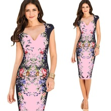 Dress large size womens summer temperament V-neck print elastic tight bag hip pencil dress