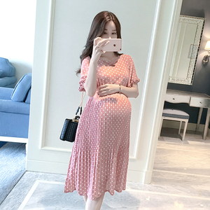 Image 2 - Chiffon Dresses Maternity Clothing For Pregnant Women Short Sleeve V neck Dot Vestidos Pregnancy Dress Maternity Summer Dresses