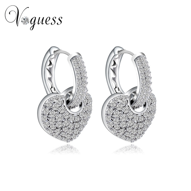 Voguess Heart Shape Hollow Stud Earring Pave Micro Aaa Austrian Cubic Zirconia Earrings For Women