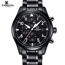 New Luxury Watch Top brand CARNIVAL Auto mechanical Watches Men Watch HD Luminous Sapphire Waterproof fashion men wristwatch