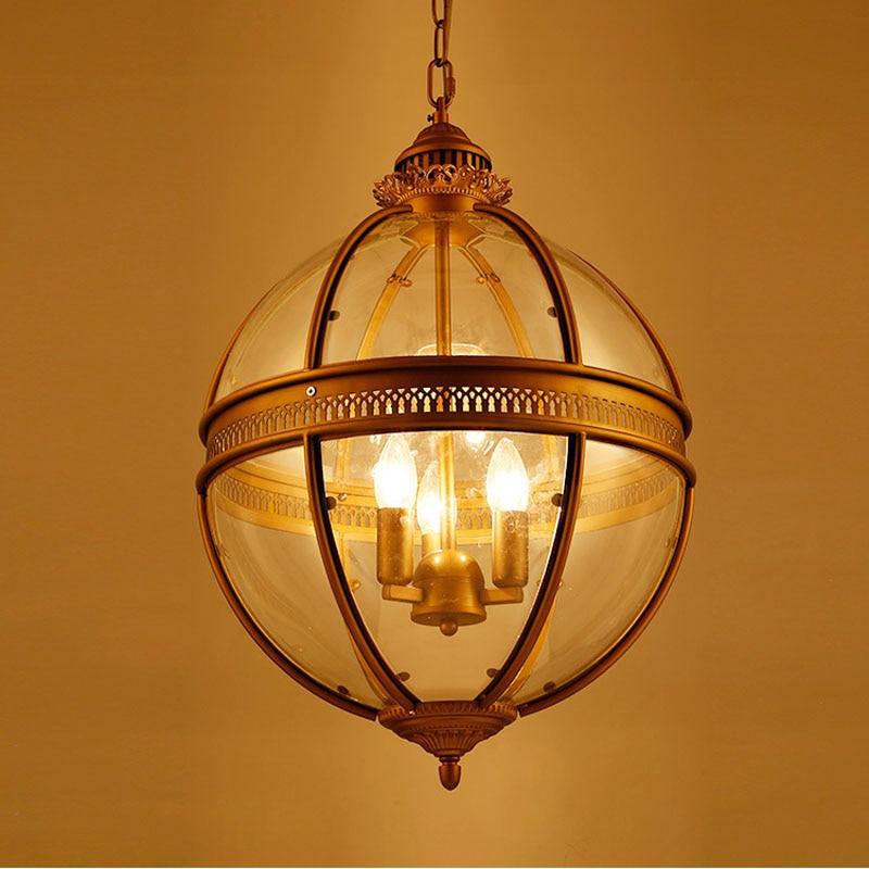 Heavy wind American Vintage wrought iron glass pandant lamp bar restaurant art creative gilded bronze pendant light ZL300 LU1019