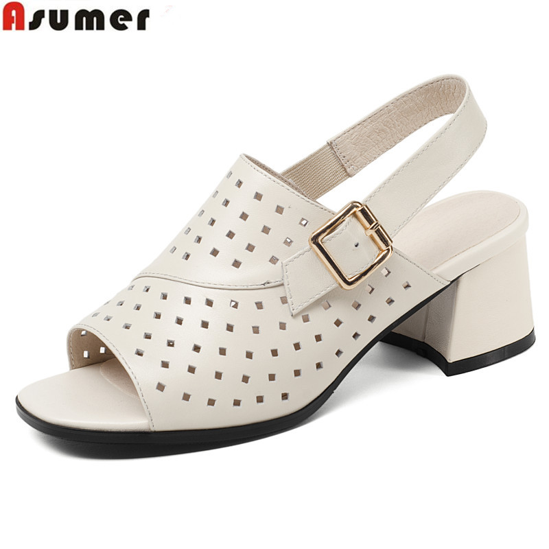 ASUMER Size 34-41 New fashion genuine leather hollow women sandals square heel buckle summer solid color ladies dress shoes fashion spring summer women sexy hollow design rivet trim solid color o neck sleeveless ladies knitted dress mini sweater dress