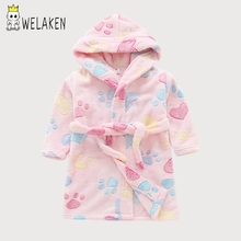 WeLaken Boys Girls Sleep Wear Cute Cartoon Flannel Hooded Bathrobes 2018 New Casual Style Autumn Winter