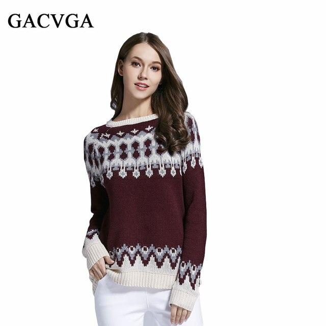 Gacvga Brand Pattern Pullover Warm Women Cute Christmas Sweater