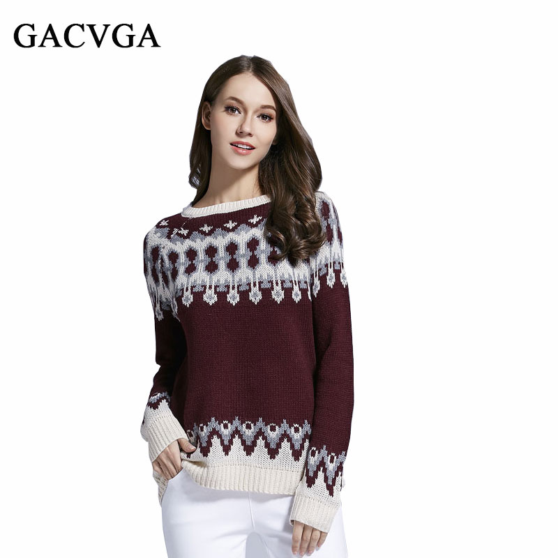 GACVGA Brand Pattern Pullover Warm Women Cute Christmas Sweater Retro Tops Fashion Loose O Neck Knitted Sweaters Short For Women