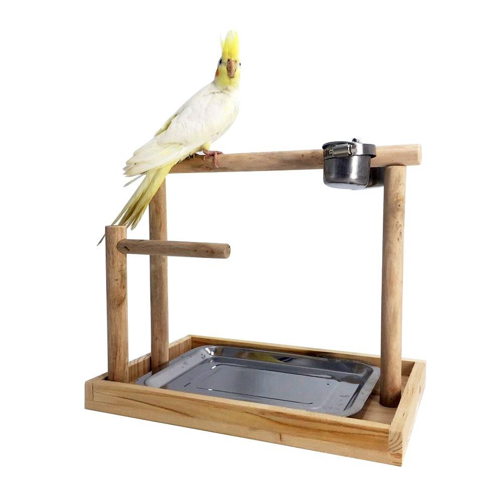 Loro Natural para Jugar Entrenamiento de Aves con Base Grande Percha de Madera YOUTHINK Soporte de Madera para Percha para p/ájaros Soporte para Gimnasio