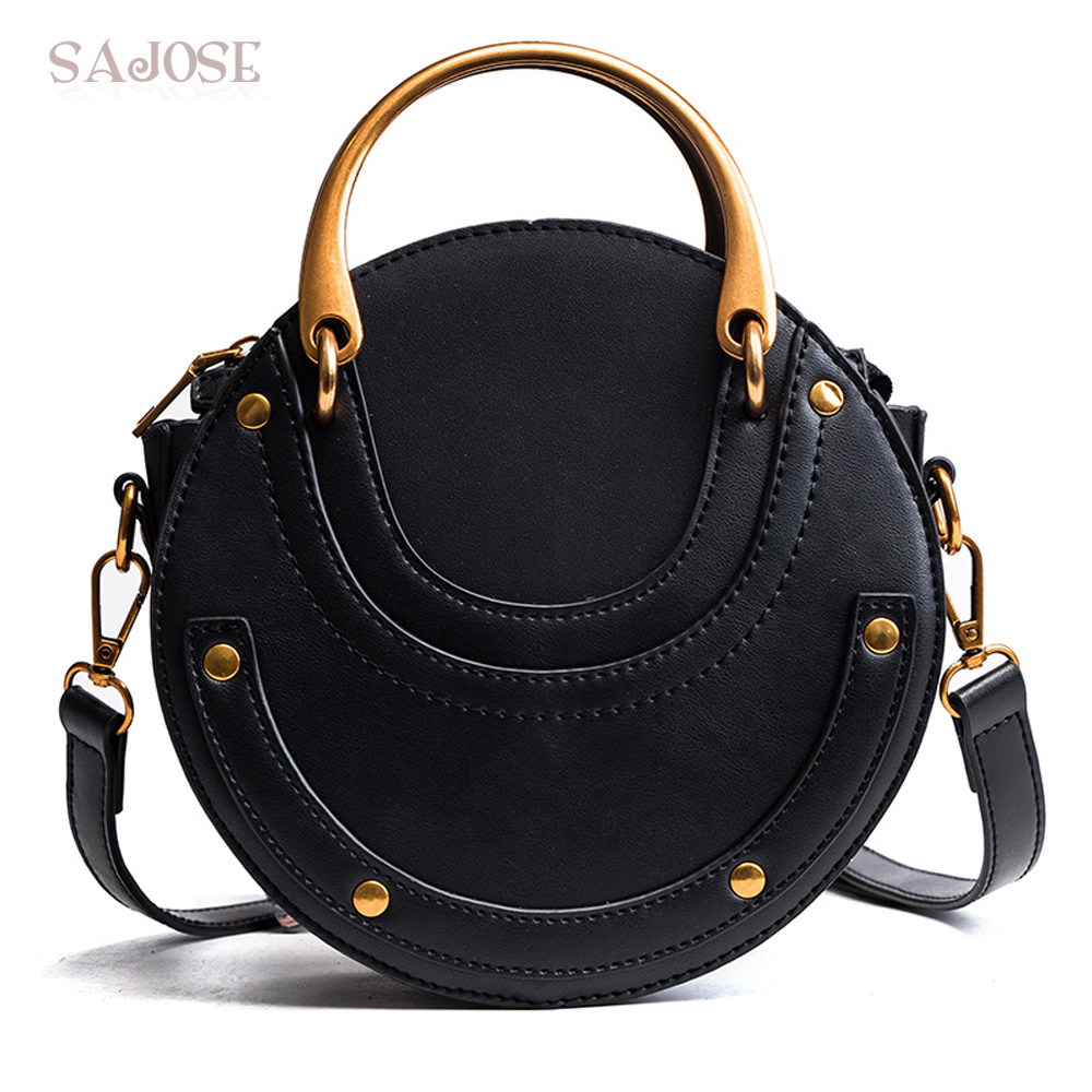 Women Totes Bag Fashion Circular Leather Vintage Famous Brand Handbag For Girl Round Lady Shoulder Messenger