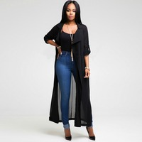 QA686 Spring Fashion Turn Down Collar Open Stitch Chiffon Trench Coat Full Sleeve X Long Women
