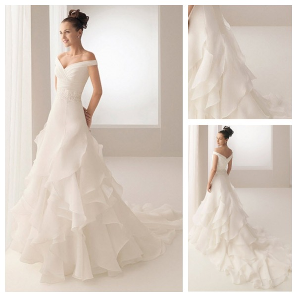 Custom made top quality ruffles dropped waist organza off for Off the shoulder wedding dress topper