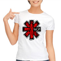Red Hot Chili Peppers Ladies T Shirt Women Women RHCP Rock Band Casual Ladies Short Sleeve