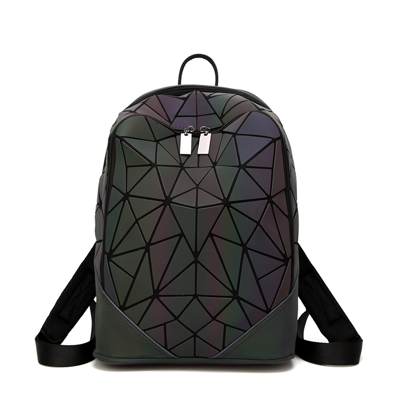 New Fashion Laser Geometric Women Leather Backpack Ladies Mochila Female Travel Bag School Bags For Teenage Girls Rucksack new arrival black genuine leather women backpack for teenage girls school bag fashion travel ladies shoulder bags bolsas mochila