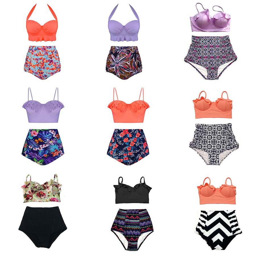 TQSKK 2019 New Bikinis Women Swimsuit High Waist Bathing Suit Plus Size Swimwear Push Up Bikini Set Vintage Retro Beach Wear XXL