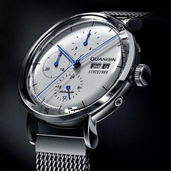 1c546cc07054 GUANQIN mecánico automático reloj de los hombres de lujo. Reloj de acero  inoxidable de la marca de la correa de malla impermeable ver hombres 2019  nueva ...