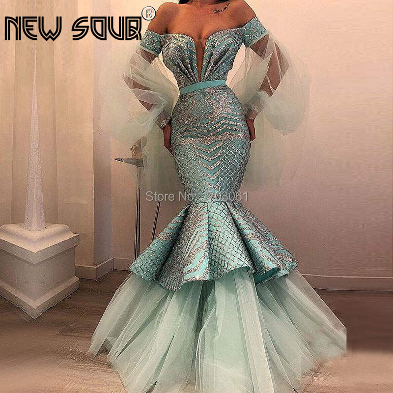 US $216 3 30% OFF|Saudi Arabic Mint Mermaid Evening Dresses Shiny Long  Sleeve Muslim Dubai Formal Party Gown 2019 Robe De Soiree Prom Dress  Kaftan-in