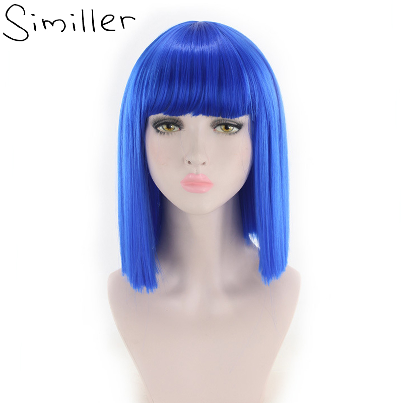 Similler Bob Synthetic Blue Short Wigs For Women High Temperature Fiber Hair With Fringe/bangs Cosplay Wig 15