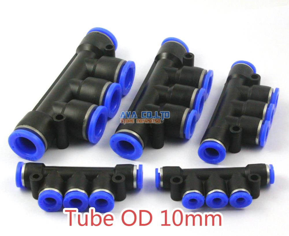 5 Pieces Pneumatic Manifold Union Tube OD 10mm Air Push In To Connect Fitting One Touch Quick Release Fitting 4mm od tube one touch fitting air suction filter 2 pcs