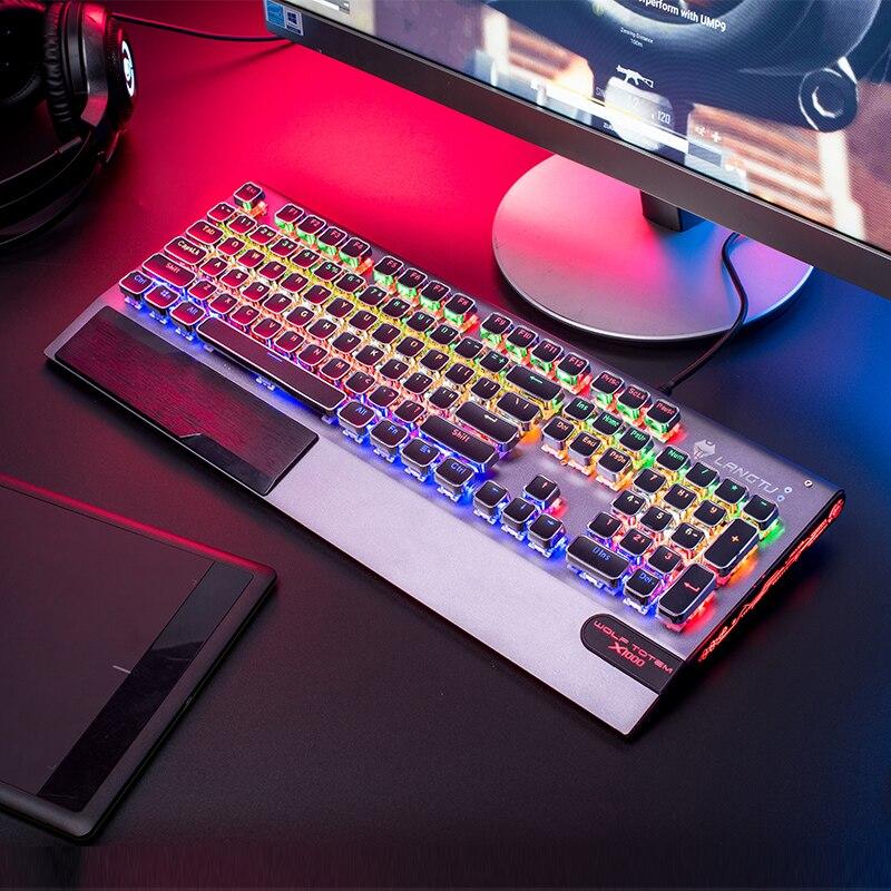 Clavier mécanique de jeu haut de gamme LED rétro-éclairage clavier filaire étanche bleu noir commutateur clavier mécanique professionnel