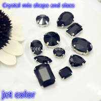 Free Shippment Mix Sizes Jet Color Sewing Glass Rhinestones Loose Strass Crystal Stones Wedding Dress Clothing