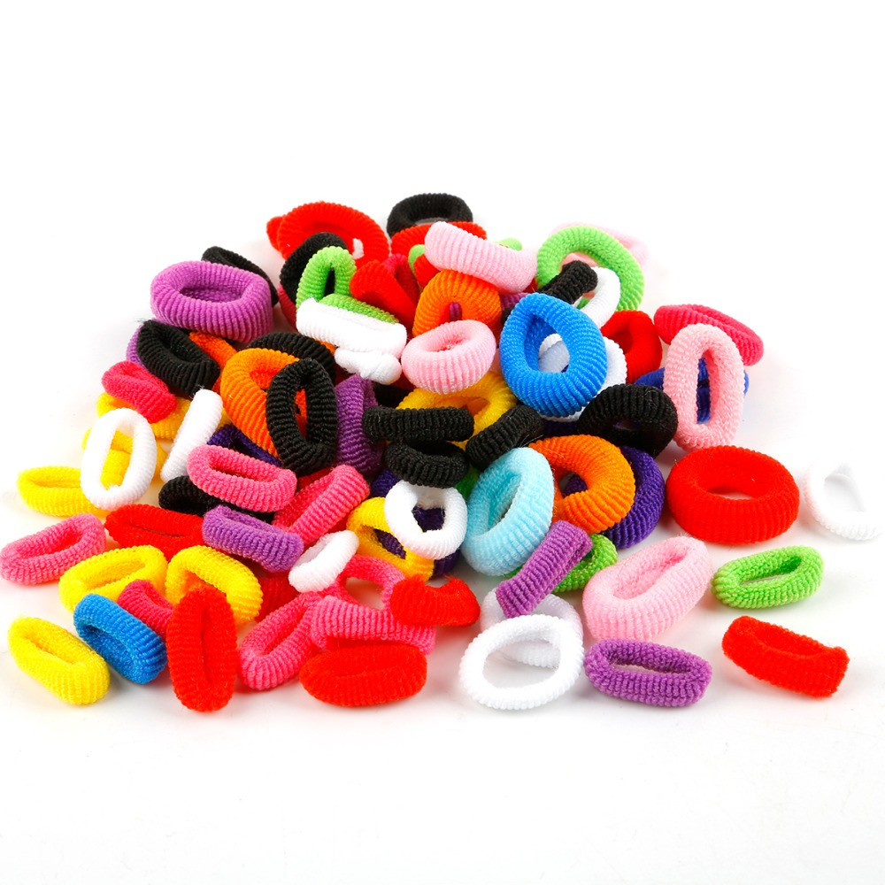 100pcs Wholesale Girls Colorful Small Ring Elastic Hair Bands Ponytail Holder Rubber Bands Scrunchie Kids Hair Accessories