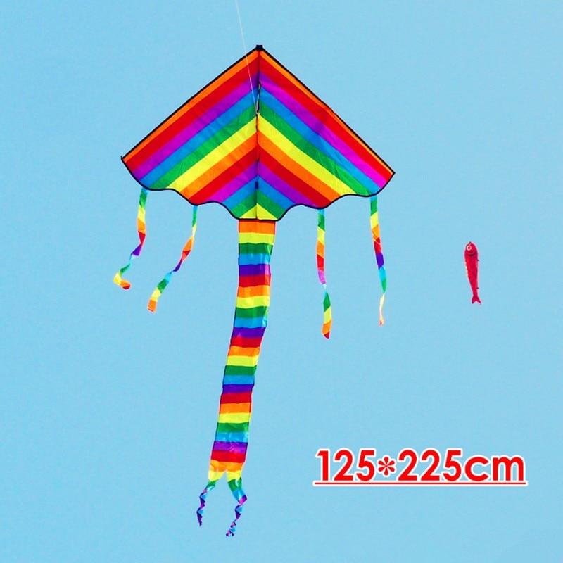 Высокое качество, большой Радужный змей, 10 шт./партия, детский летающий змей, линия, наружная летающая игрушка, ремесло, дракон, воздушный змей, рыба Комета