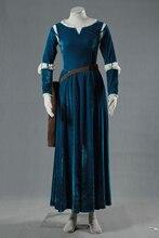 Película brave mérida cosplay princesa dress longsleeve dress con cinturón y temblar de alta calidad