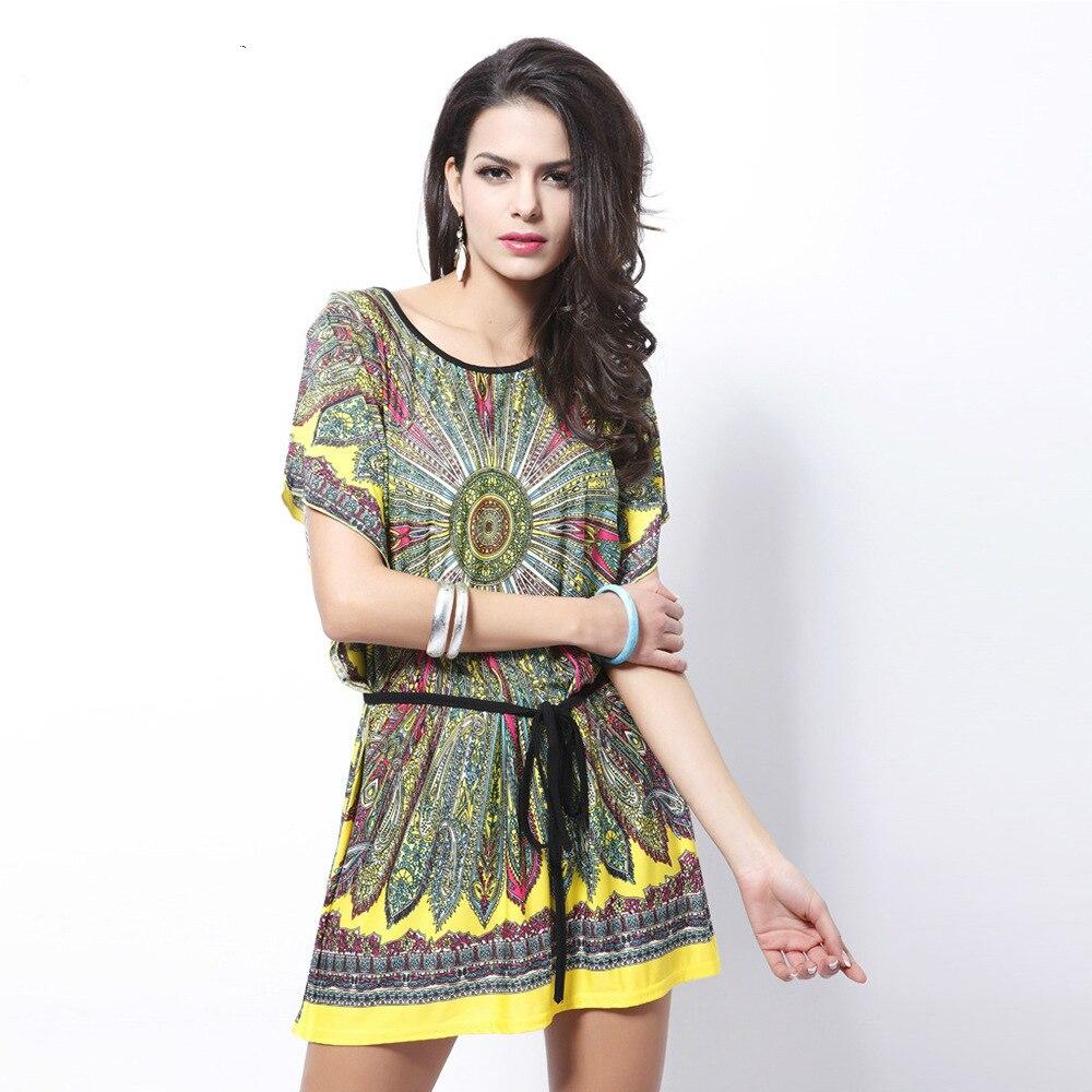 ⑧Vestidos 2018 verano mujeres vestido Retro suelta étnica impresión ...