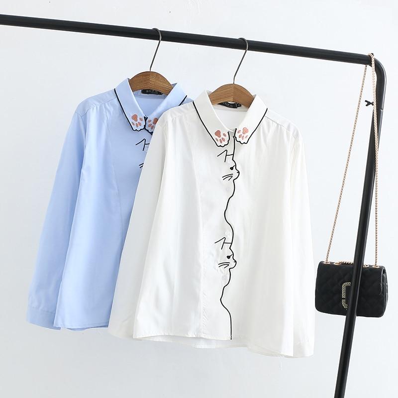 Cute Cat Embroidery Collar Blusa Feminino Autumn Vintage White Blouse Long Sleeve Shirt Women Tops Tees Chemise Femme