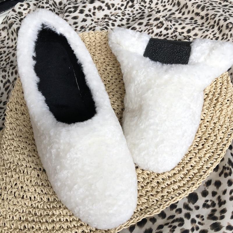 blanc Chaud Plat Pliage De Non Chaussures Velours Casual D'hiver glissement Femmes Noir Fourrure Ballet Laine Accueil brown Fond Doux KJ1Fcl