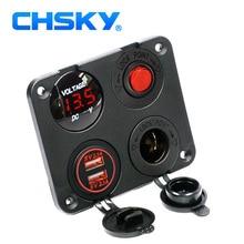 CHSKY Pannello 4 Fori Base LED Rosso 12 V USB 4.2A Power Adapter Caricatore Doppio Car Cigarette Lighter Socket Splitter Digitale voltmetro