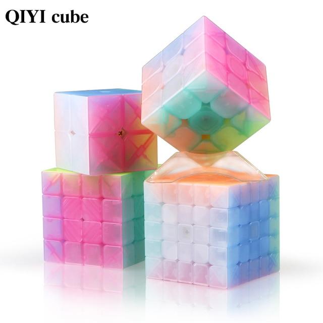 QIYI personalize 2x2x2 Jelly Stickerless Puzzles cube 3x3x3 magic speed qiyi cubes 4x4x4 cube 5x5x5 qiyi cube educational toys 1