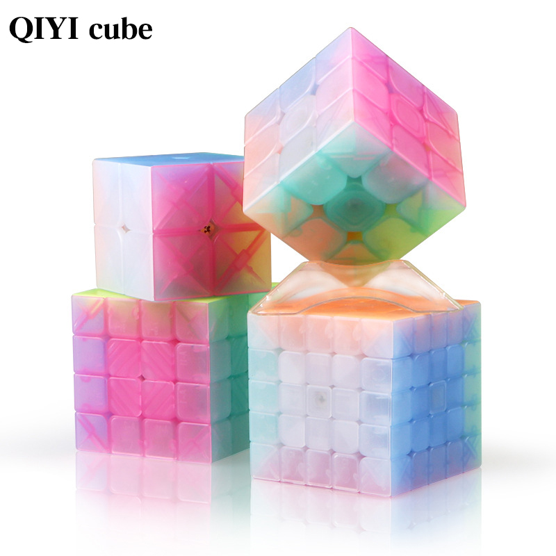 QIYI personalize 2x2x2 Jelly Stickerless Puzzles cube 3x3x3 magic speed cubes 4x4x4 cubo magico 5x5x5 qiyi cube educational toys